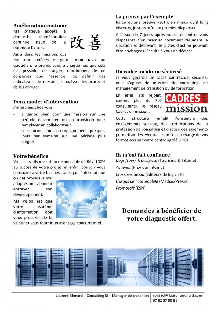 Offre de service - Consulting - Laurent Menard